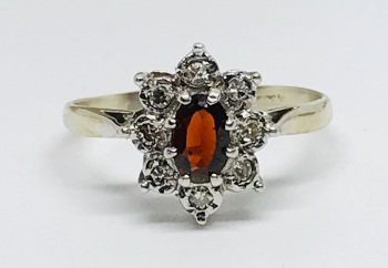 Garnet and Diamond Ring  in 9ct gold    Size O 1/2