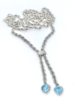 White Gold Necklace with blue Topaz Heart Drops