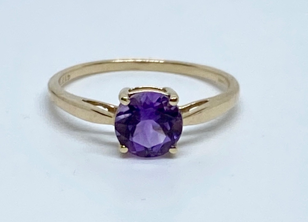 Amethyst Ring in gold  Size Q