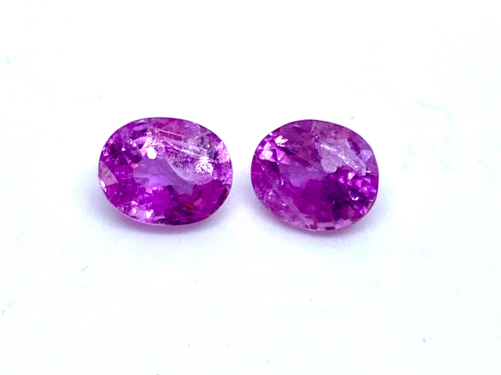 Sapphire Pink  pair Oval  1.79ct  6mm x 5mm  Sap059