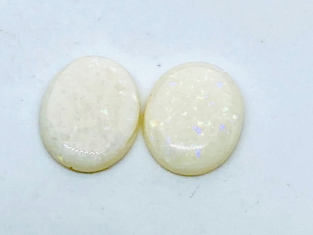 White Opal Pair Oval  1.99cts  9mm x 7mm    Opa057