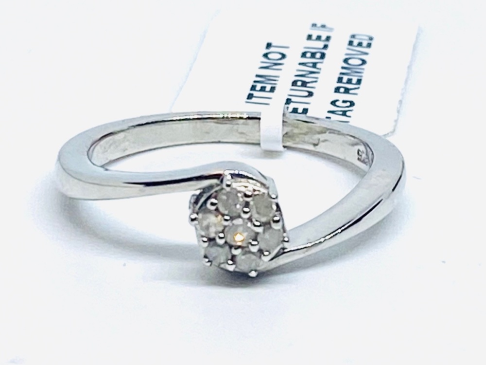 Diamond Ring Set in Silver 0.15cts    Size O