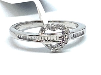 Diamond Ring Set in Silver   0.20cts    Size R