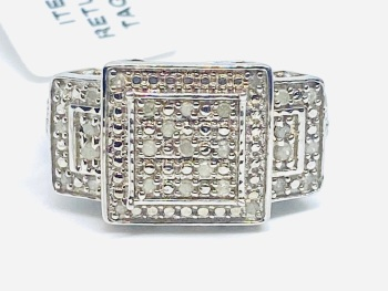 Large Diamond Ring Set in Silver   0.33cts    Size P
