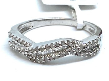 Diamond Criss Cross Ring Set in Silver   0.33cts    Size P