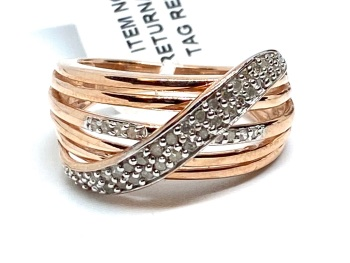 Diamond Ring Set in Silver with Rose Gold Overlay 0.33cts    Size P