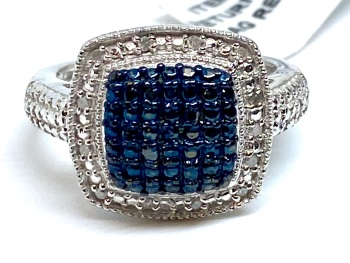 Blue Diamond Ring Set in Silver 0.10cts    Size Q