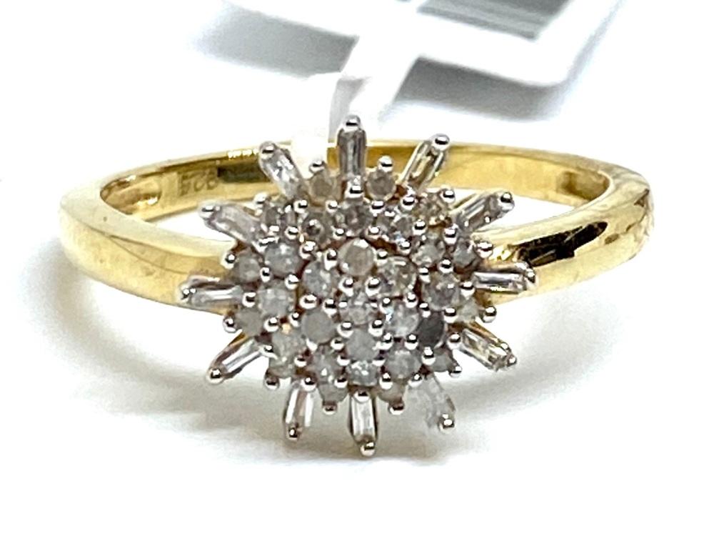Diamond Cluster Ring Set in Silver with 14kt gold Overlay  0.33cts    Size