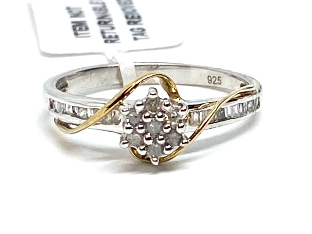 Diamond Ring Set in Silver with  gold Overlay  0.25cts    Size P