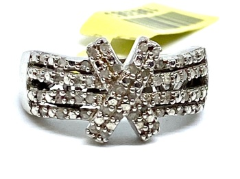 Cluster Diamond Ring Set in Silver with  Platinum  Overlay  0.33cts    Size P