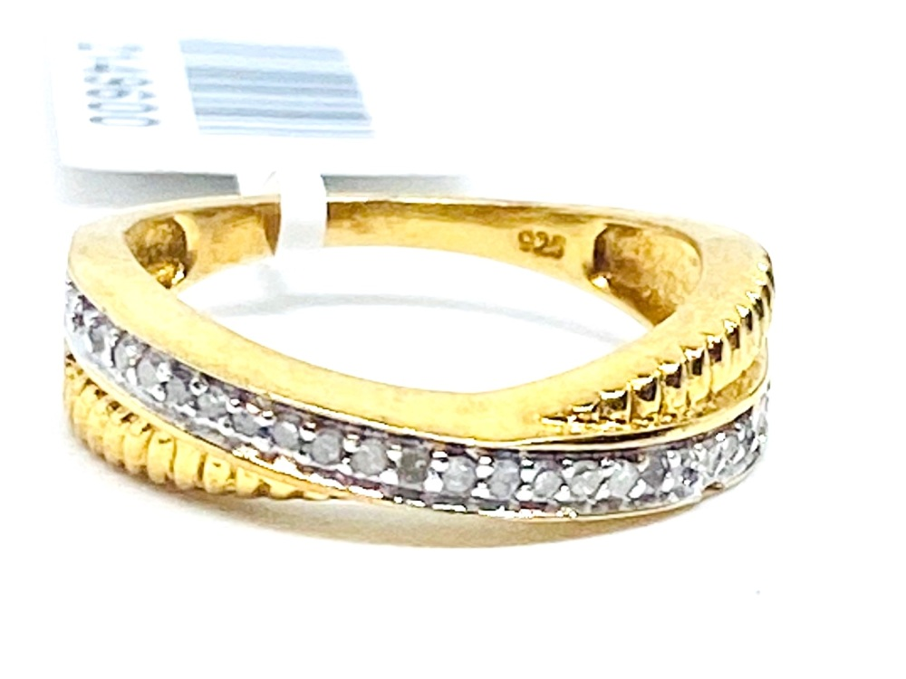 Diamond Crossover Ring Set in Silver with 14kt gold Overlay  0.15cts    Siz