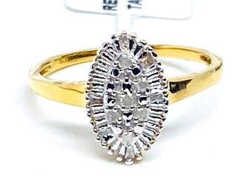 Diamond Ring Set in Silver with 14kt gold Overlay  0.10cts    Size Q