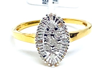 Diamond Ring Set in Silver with 14kt gold Overlay  0.10cts    Size P