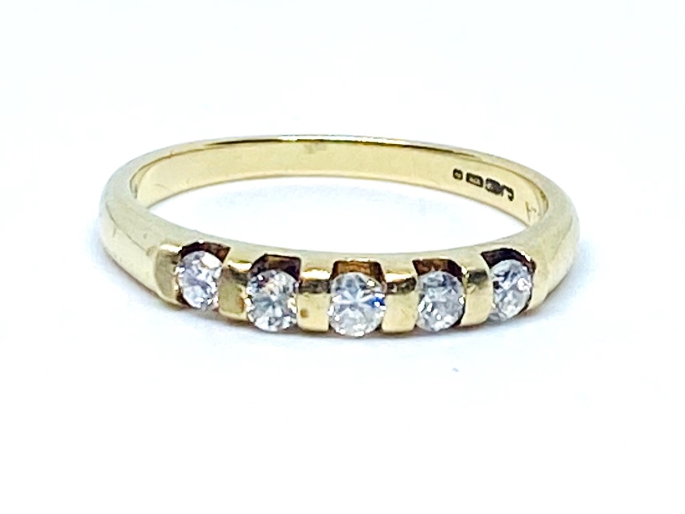 5 Tone Diamond ring  .25pts   9ct Yellow Gold size N