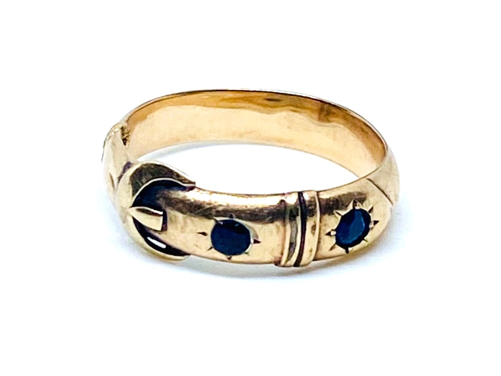 Antique Sapphire Buckle  Ring set in yellow gold    size O