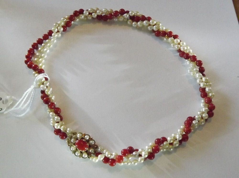 Pearl and Ox Blood Coral Necklace