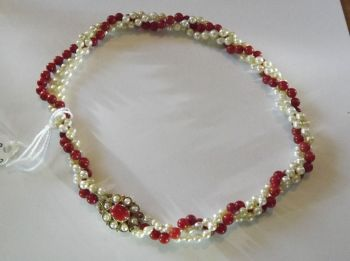 Pearl and Ox Blood Coral Necklace   (ant17)