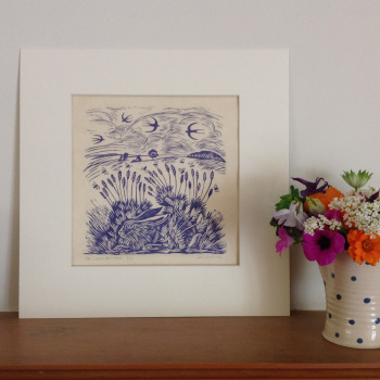 the lavender hare - linocut