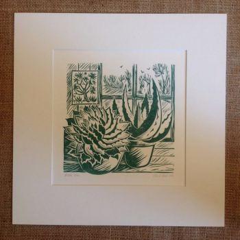 Aloes - linocut