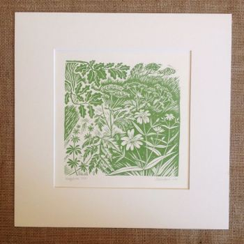 hedgerow - linocut
