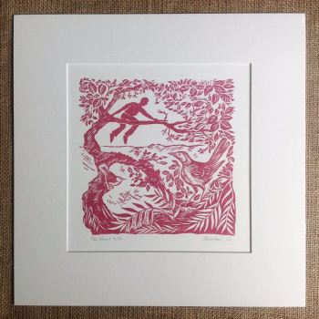 the view - linocut