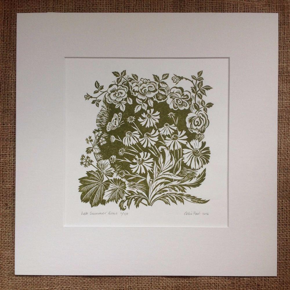 <!-- 001 -->Late Summer Roses - linocut