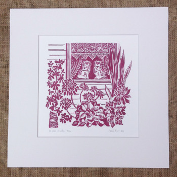 in the window - linocut
