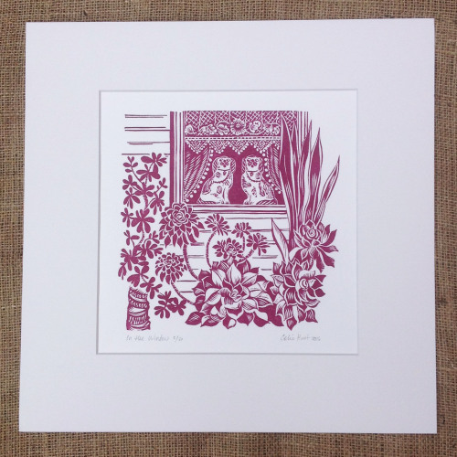 <!-- 002 -->In the Window - linocut