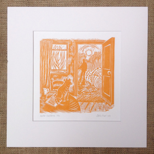 <!-- 001 -->Winter Sunshine - linocut