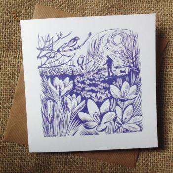 Crocuses - greetings card
