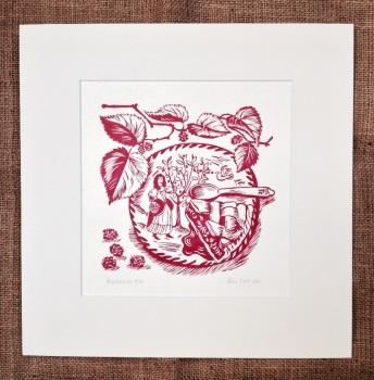 Mulberries - linocut