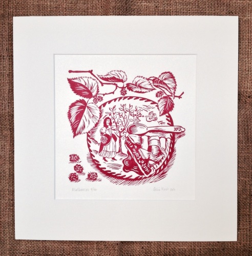 <!-- 010 -->Mulberries - linocut
