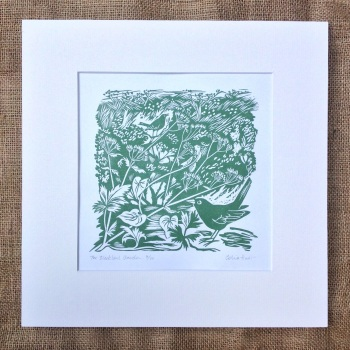 the blackbird garden - linocut
