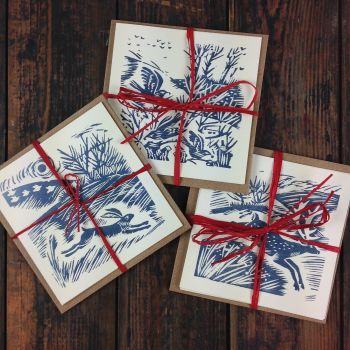 winter walk hare, deer and fieldfares: pack of 3 different designs