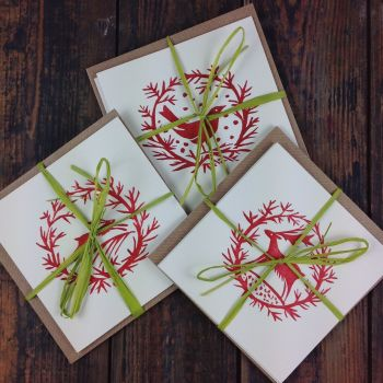 garlands christmas cards: pack of 3 different designs