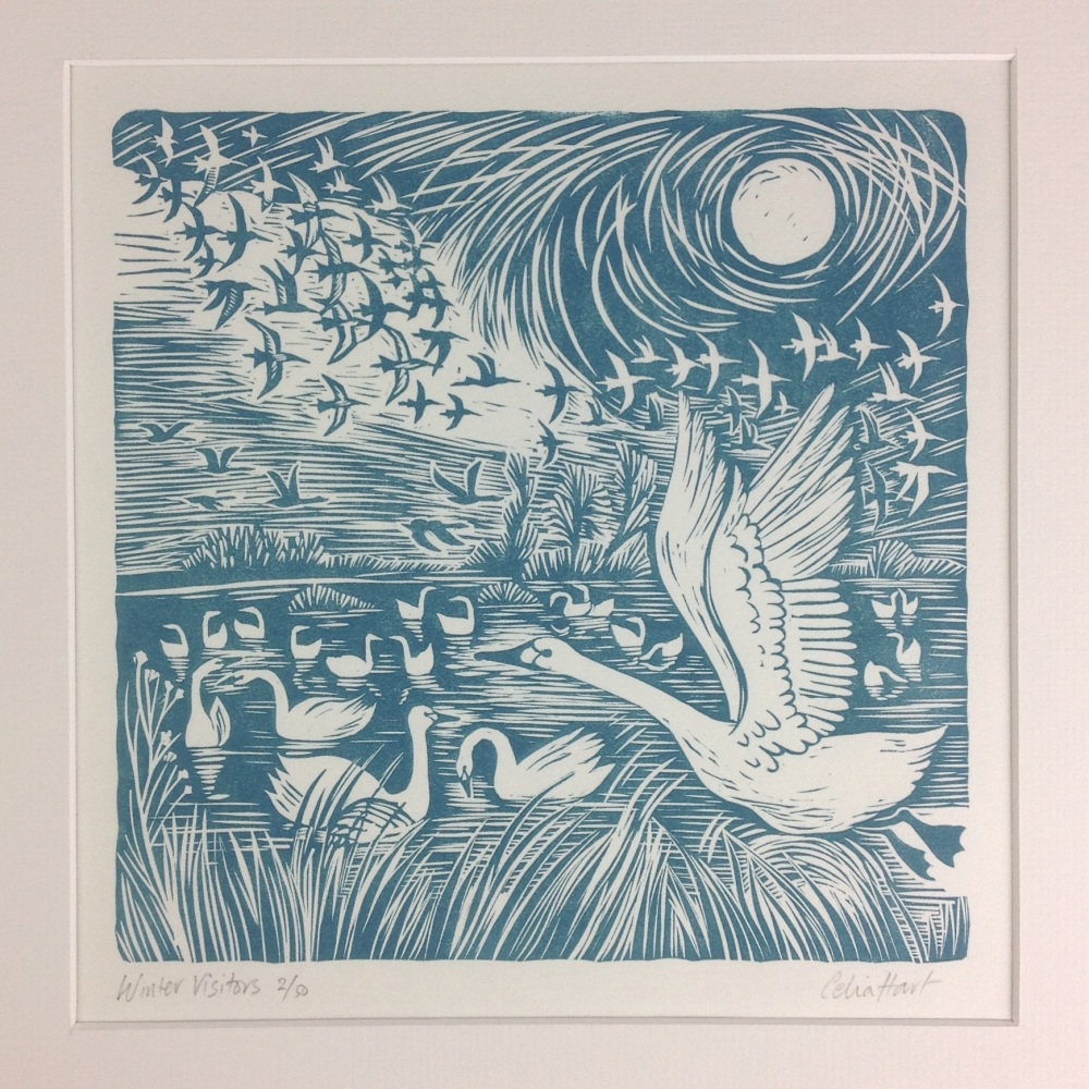 winter visitors - linocut