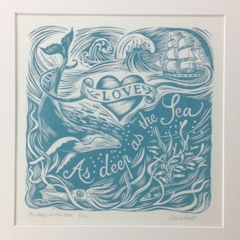 As deep as the sea - linocut