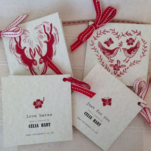 Hearts - 4 gift tag cards