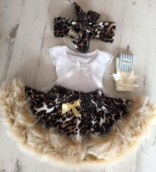 Leopard Print Fur tutu and top