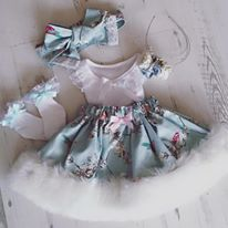 Blue birds Fur trim skirt and top. Free bow clip or band .
