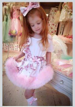 Vintage pink fur tutu and top .