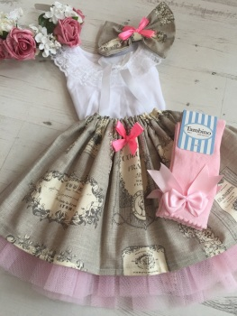 The Hand Made French Antique Tutu Set . Top and Skirt .
