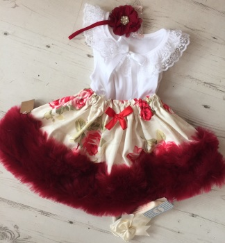 Red Rose Fur Full Set . Inc Hair Band or Bow .