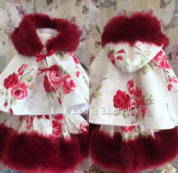 Red Rose Fur Trim Cape and Skirt Set .