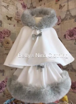 Grey Trim Fur Cape Set .