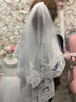 Mid length lace trim veil .