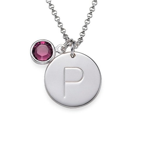 Initial Silver Pendant& Birthstone Crystal Necklace
