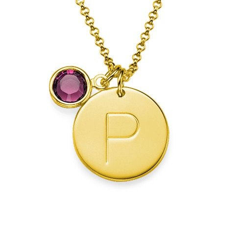 Initial Gold Plated Pendant& Birthstone Crystal Necklace