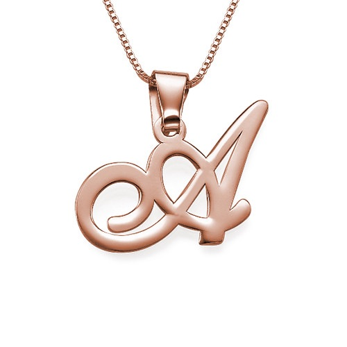Rose Gold Plated Initial Pendant Necklace