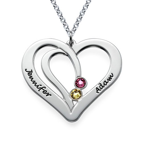 Engraved Silver Birthstone Heart Necklace